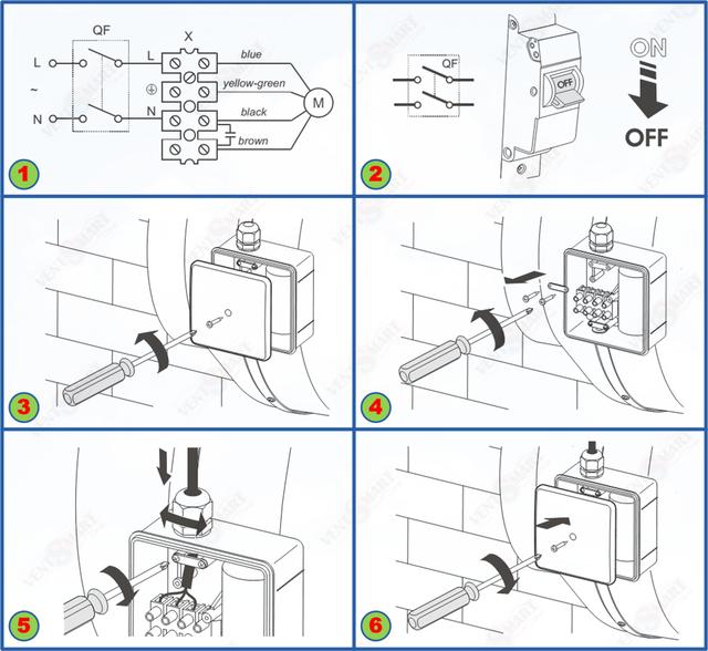 Подключение питания к круглым канальным вентиляторам ВЕНТС ВКМ 100