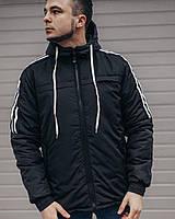 Демисезонная мужская куртка с капюшоном черного цвета