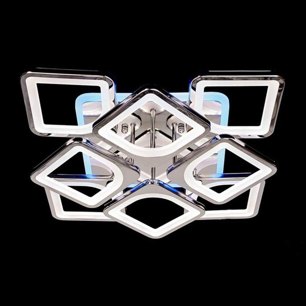 Светодиодная люстра никель/хром 140 Вт СветМира с LED подсветкой и диммером  LS-6654-4-4S CH