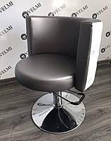 Кресло парикмахерское Ice Queen на пневматике Хром Диск, кожзаменитель Boom-24+01 (Velmi TM)