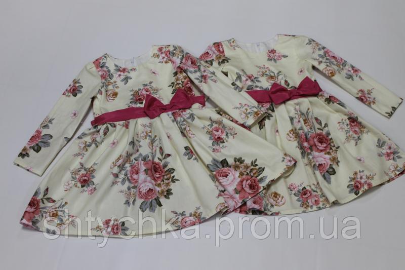 Повседневно - нарядное платье на девочку № 94 с рукавами