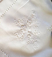 """Скатертина біла вишита на льоні """"Білі квіти"""" 150*100 см"""