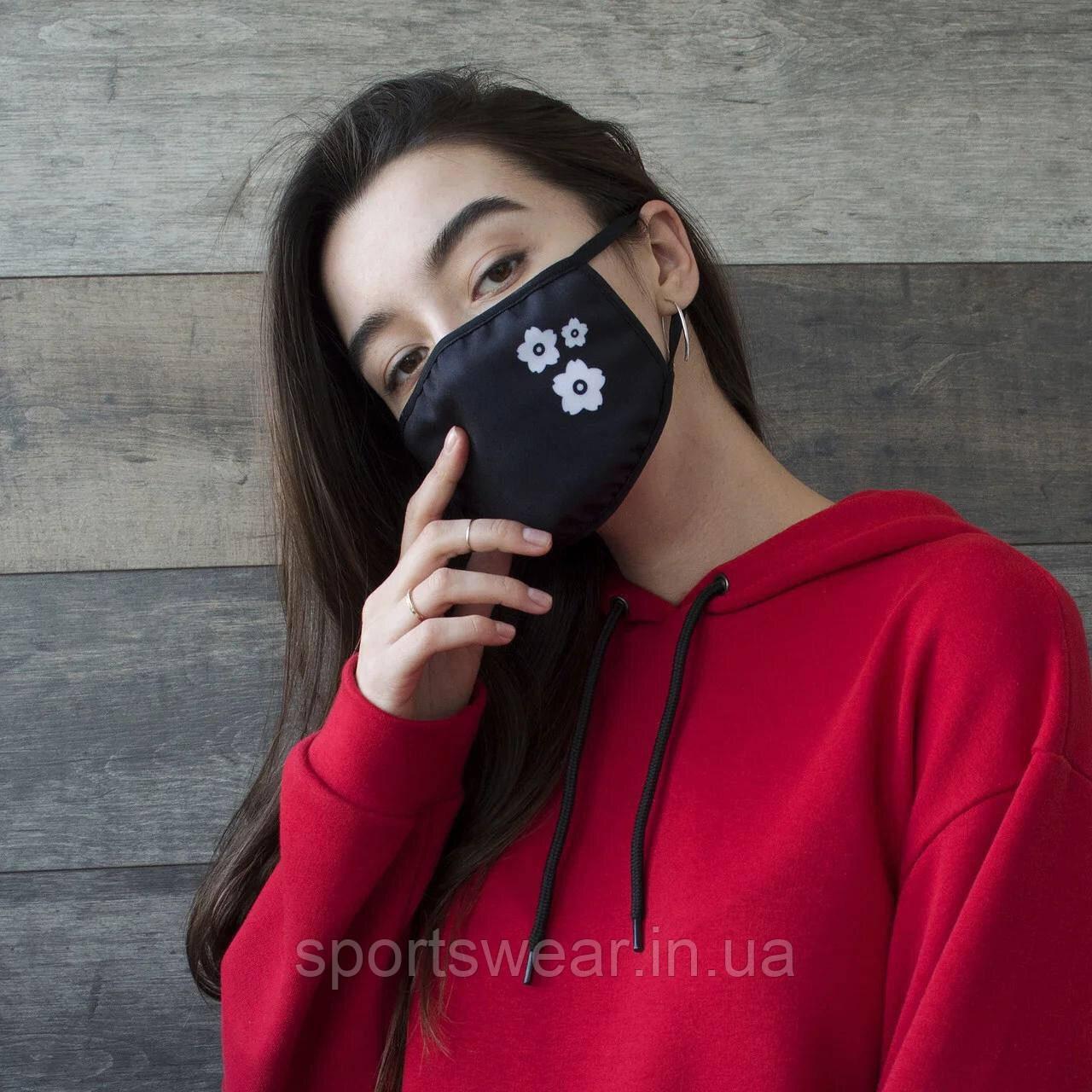 Многоразовая маска с  принтом ЦВЕТЫ  женская,мужская, подростковая