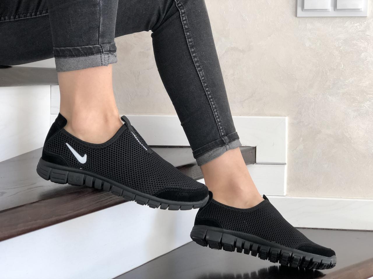Женские кроссовки Nike Free Run 3.0 (черные, лого белое) 9214