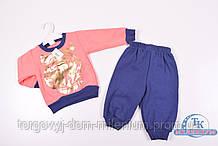 Костюм для девочки трикотажный (цв.персиковый) на флисе Тигр Рост:74,80,86,92