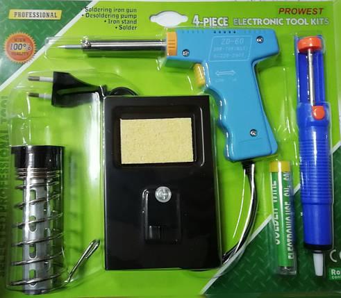 Н/бі для паяння ZD303A( паяльник220V30W,оловоотсос,підставка, припій), фото 2