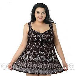 Женский купальник-платье танкини на большие размеры без поролона