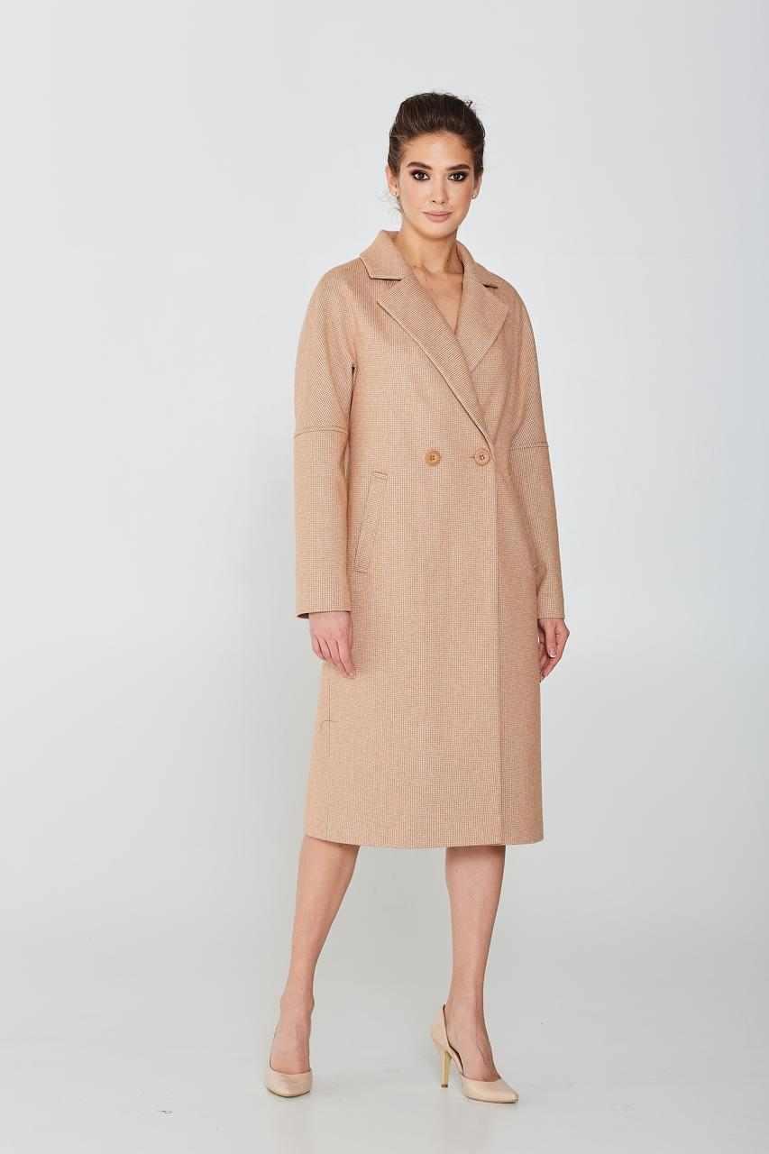 Класичне пальто жіноче демісезонне бежеве Elvi Д -758 52