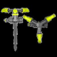 Ороситель вращающийся 3-х рожковый на колышке LIME EDITION, LE-6102