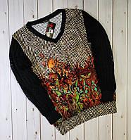 Красивый комбинированный женский пуловер,блуза,кофта,свитер,см.замеры в описании!!!