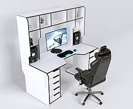 Геймерский игровой компьютерный прямой эргономичный стол ZEUS™ / ЗЕУС™ Viking IV / Викинг 4 white / белый