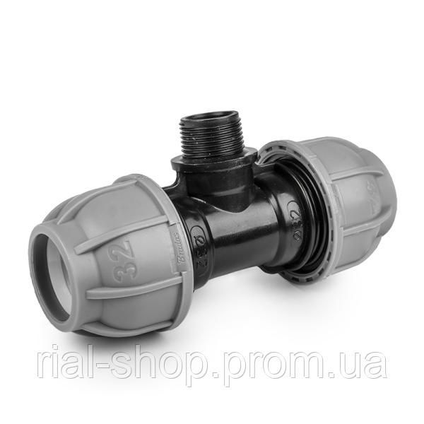 """Тройник для труб PE, 50 мм, PN10, с наружной резьбой  6/4"""", DSRA10T50M64"""