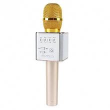 Портативный караоке микрофон  Q9 с чехлом Gold