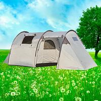 Палатка туристическая кемпинговая с тамбуром 4х местная двухслойная