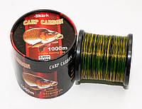 Леска рыболовная карповый шнур для рыбалки  Shark Carp Carbon 1000 метров 0.4мм до 25кг