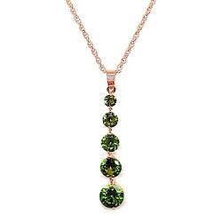 Подвеска на цепочке SONATA из медицинского золота, зеленый фианит, позолота PO, 42154             (1)