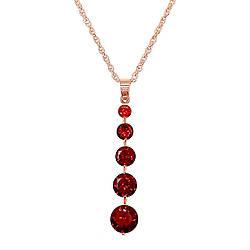 Подвеска на цепочке SONATA из медицинского золота, темно-красный фианит, позолота PO, 42155             (1)