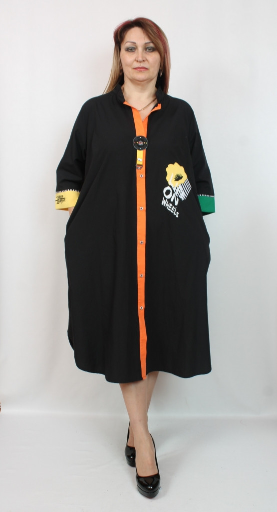 Турецкое женское платье - рубашка, больших размеров 52-64