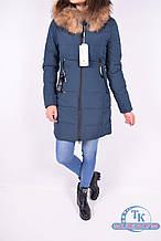 Куртка женская из плащёвки зимняя (цв.тёмно-зелёный) опушка натуральный мех Xueyunyuzi 1816 Размер:42