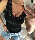 Трикотажная майка рубчик с кружевом, фото 2