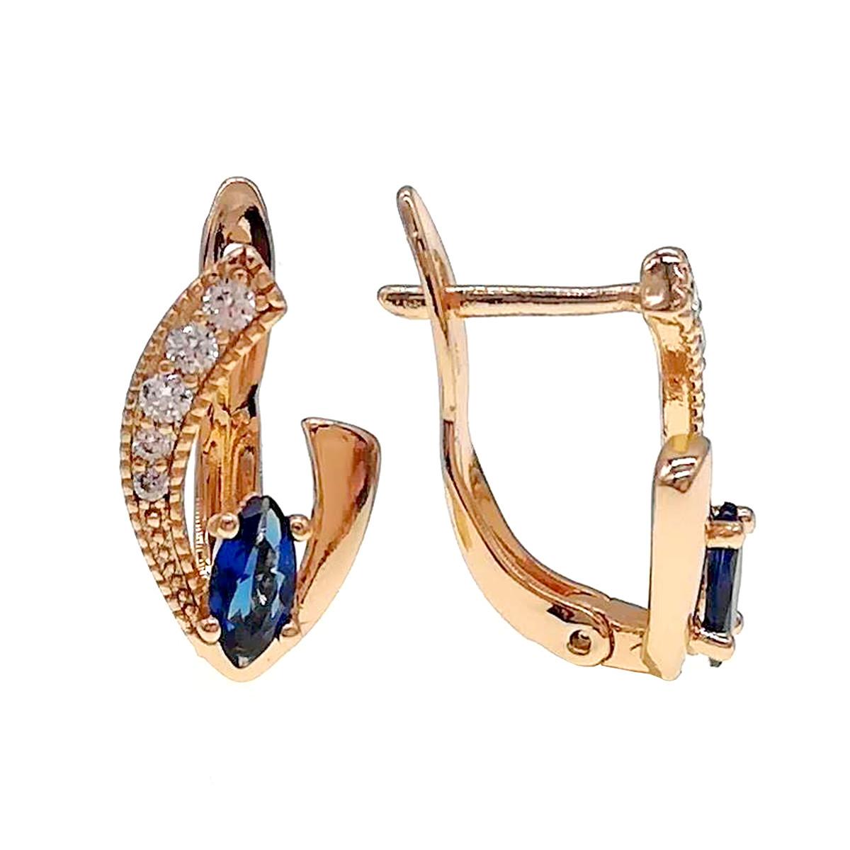 Серьги Xuping из медицинского золота, синие и белые фианиты, позолота 18К, 24222       (1)