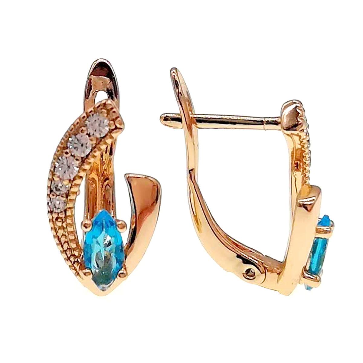 Серьги Xuping из медицинского золота, голубые и белые фианиты, позолота 18К, 24224       (1)