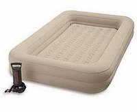 Надувной велюровый матрас-кровать Intex 66810 с бортиками ручной насос
