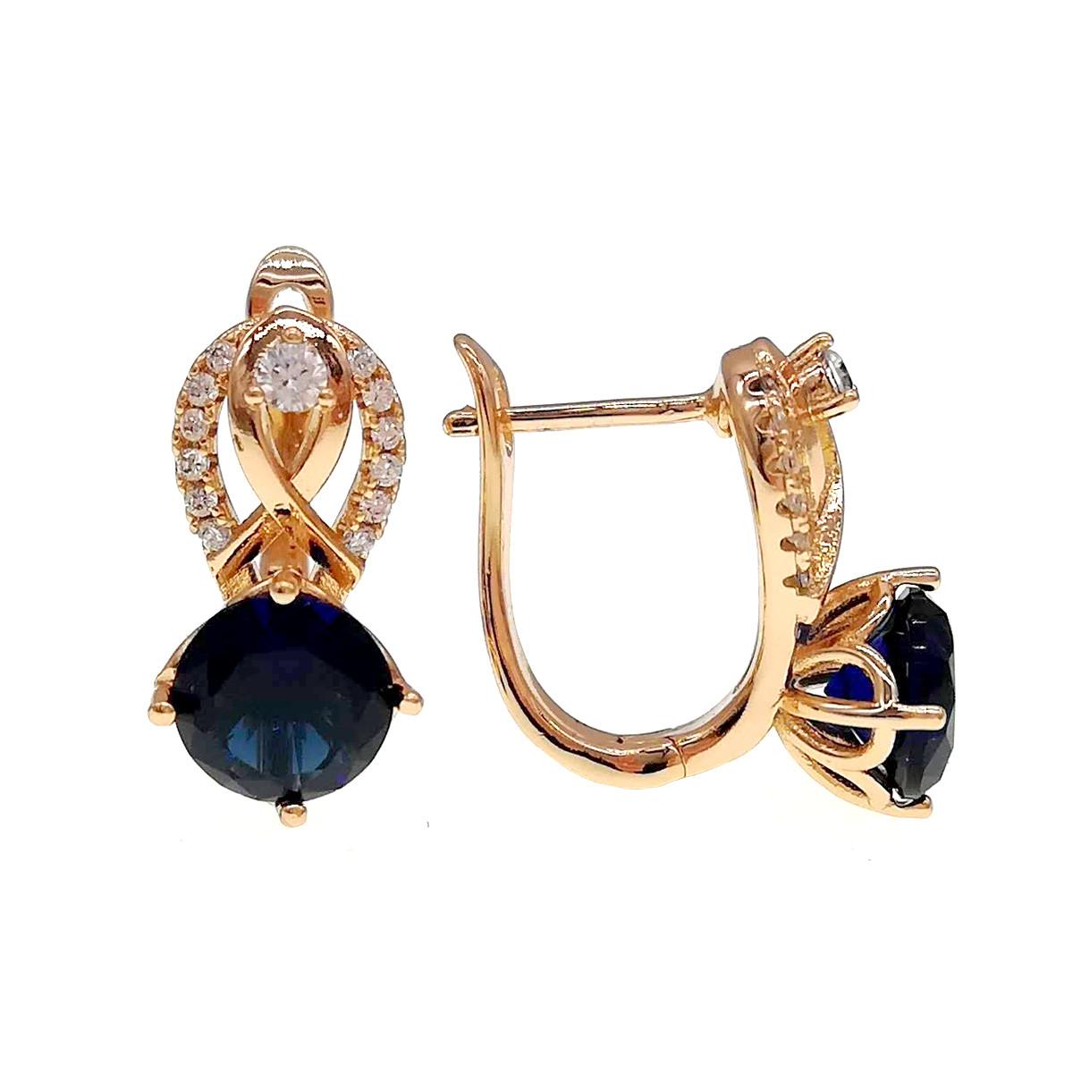 Сережки Xuping з медичного золота, сині і білі фіаніти, позолота 18К, 24239 (1)