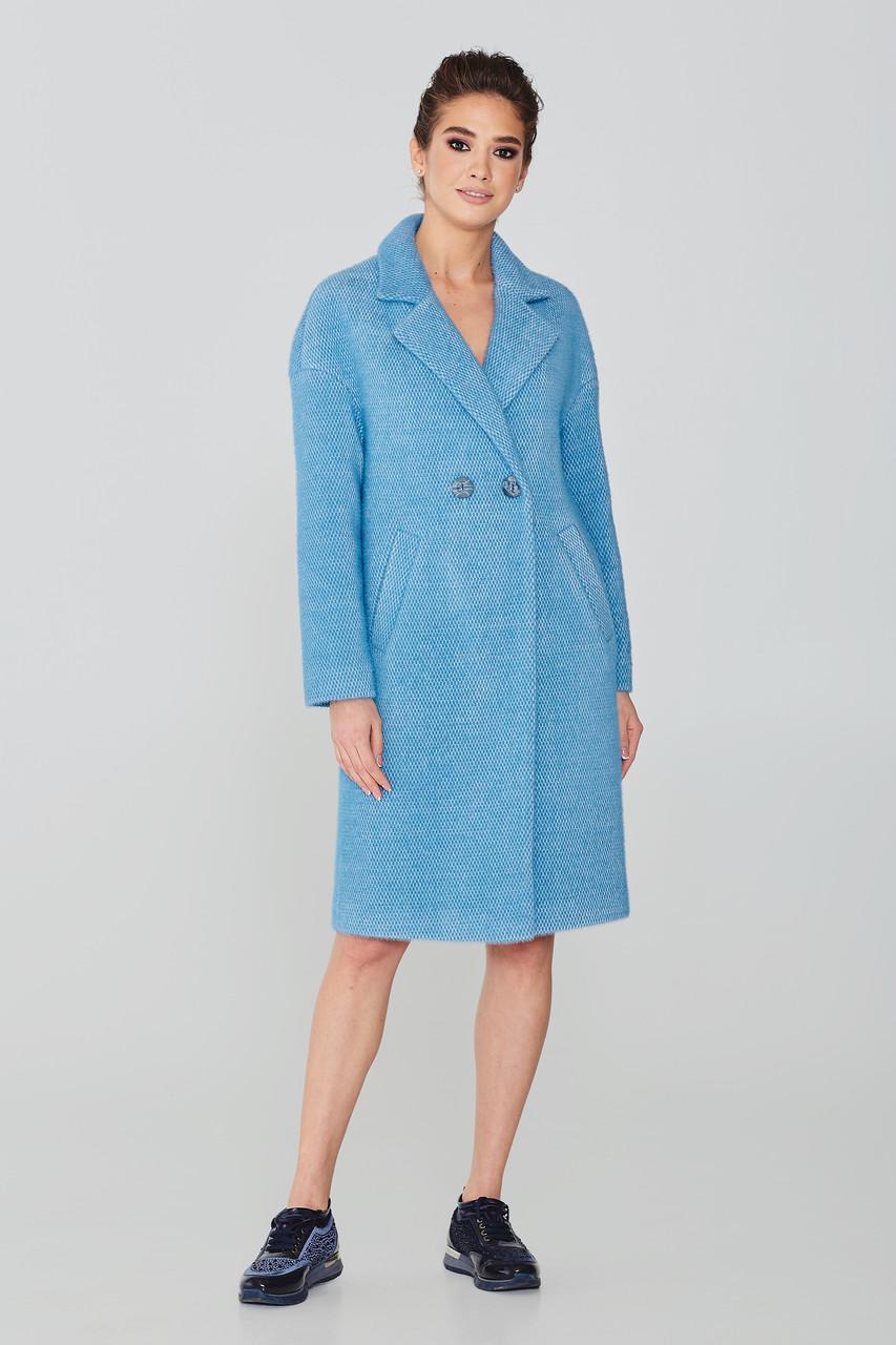 Жіноче демісезонне пальто-кокон з ворсової тканини Elvi Д-767 50