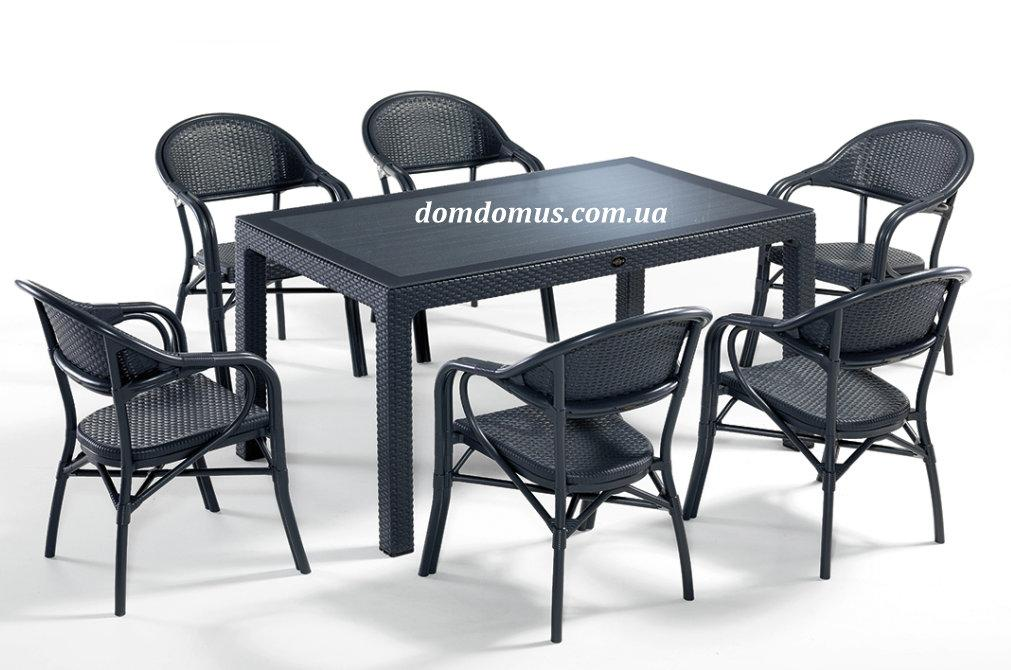 """Комплект садової високоякісних меблів """"NIRVANA FOR 6"""" (стіл 90*150 + 6 крісла) Novussi, Туреччина"""