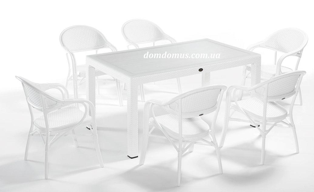 """Комплект садовой высококачественной мебели """"NIRVANA FOR 6""""   (стол 90*150, 6 кресла) Novussi, Турция"""