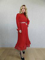 Роскошное вечернее платье миди рыбка из красного шифона-гофре, нарядное, коктейльное, на свадьбу, на выпускной