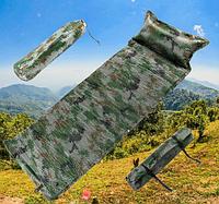 Туристический самонадувающийся коврик матрас каремат с подушкой рыбацкий военный 180х65см