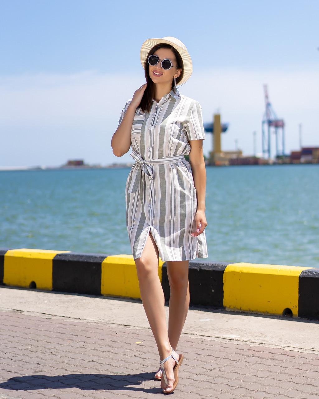 Платье-рубашка в   полоску цвет оливка