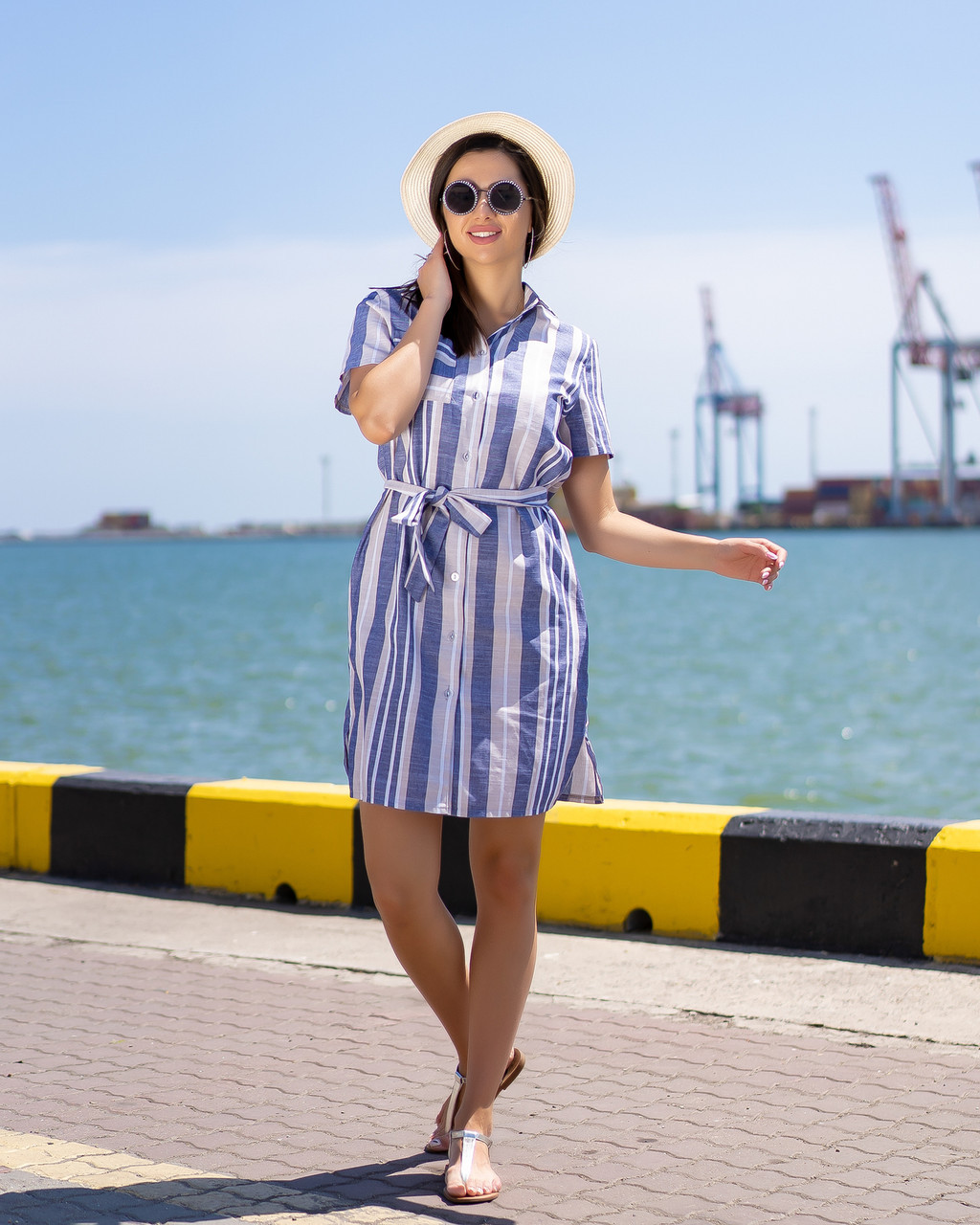 Женское Платье-рубашка в бежево-голубую  полоску