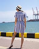 Женское Платье-рубашка в бежево-голубую  полоску, фото 2