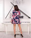 Платье женское свободного кроя с цветочным принтом синего цвета, фото 3