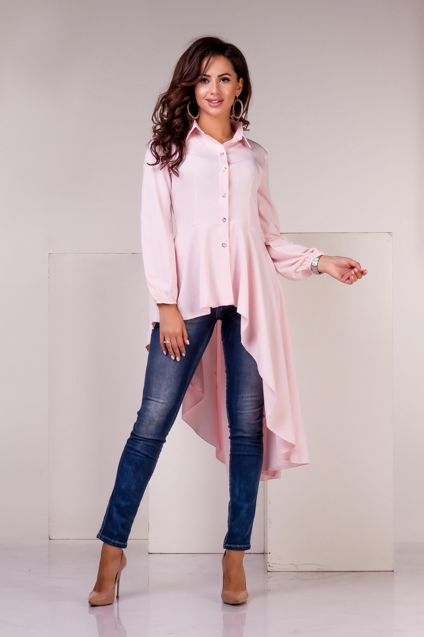Женская Блузка асимметричная цвета пудры