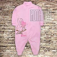 Легкий хлопковый человечек 68 3 4 5 мес трикотажный комбинезон слип на новорожденных малышей КУЛИР 3045 Розовы