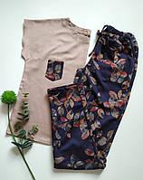 Женская пижама с трикотажными штанами