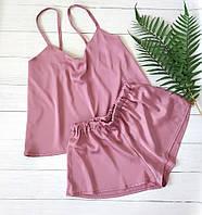 Женская шелковая пижама шорты и маечка