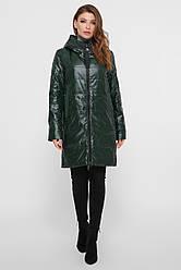 Жіноче пальто з плащової тканини зеленого кольору