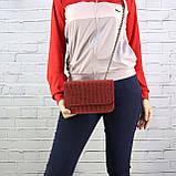 Сумка piton lady красная из натуральной кожи с оттиском, фото 8
