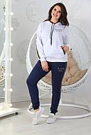 Трикотажный спортивный костюм женский «Ульяна» (Белый-синий | 48, 50, 52, 54, 56)