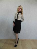 Нарядное женское платье делового стиля с юбкой плиссе, бежево-черное, офисное, коктейльное, стильное 38 (М)