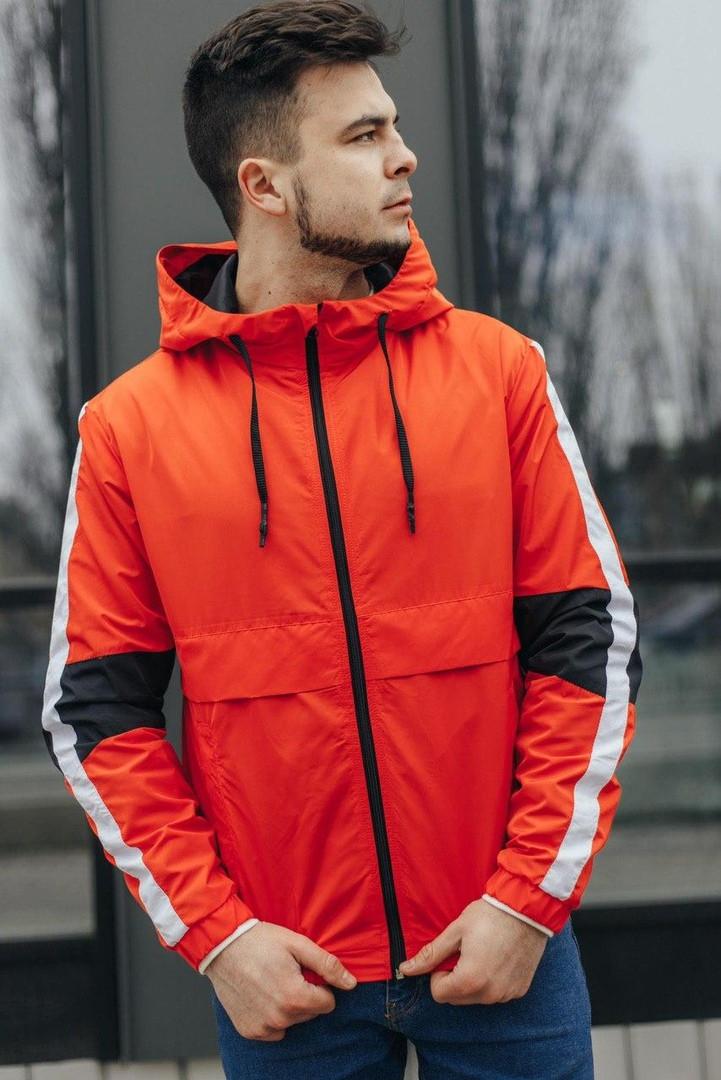 Мужская куртка-ветровка с капюшоном (оранжевая)