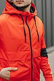 Мужская куртка-ветровка с капюшоном (оранжевая), фото 2