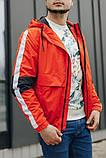Мужская куртка-ветровка с капюшоном (оранжевая), фото 3
