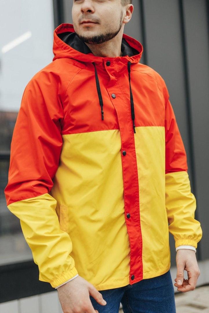 Мужская куртка-ветровка с капюшоном (желто/оранжевая)