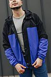 Мужская куртка-ветровка с капюшоном  (черно/синяя), фото 3